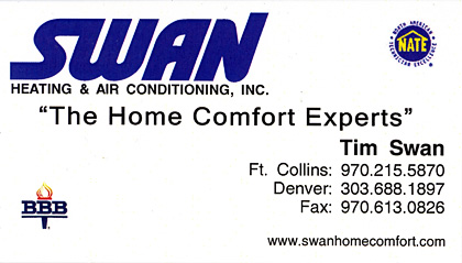 Swan Home Comfort business card