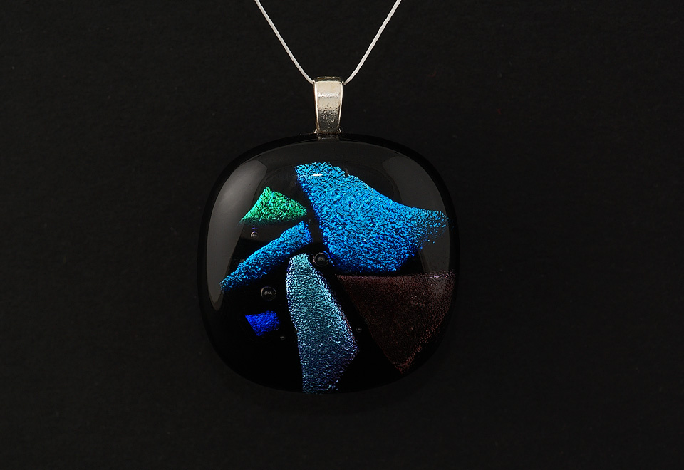 Dichroic glass pendant - product photography